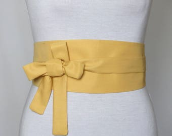 High-end Fabric, Reversible Waist belt, Obi style - Mild Yellow - Cotton and Silk -  Corset Cincher Sash feminine silhouette