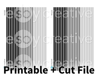 Monochrome Black + White - Thin Washi Printable Planner Stickers for Erin Condren Horizontal + Cut File - HK-032 - INSTANT DOWNLOAD
