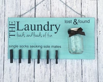 Laundry Sign coin socks solemates coins mason jar washer dryer room loads fun coin holder mud room change dollar dollars money wood pallet