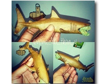 Shark Shaped Blunt With Weed In Jawas - - Weed Sticker - Marijuana Sticker - Cannabis Stickers
