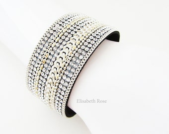 Sparkly White and Gold Cuff Bracelet, White Braided Bangle, White Bracelet, Sparkly Cuff Bracelet, White Leather Bangle