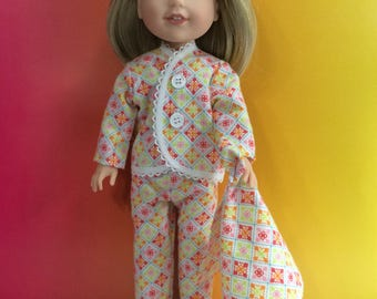 """Flannel pajamas for 14.5"""" Wellie Wishes doll"""