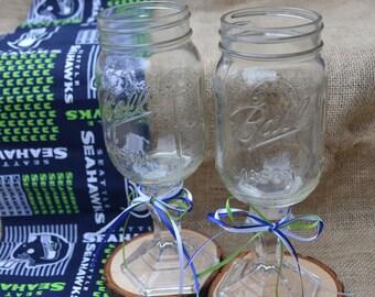 Hillbilly Wine Glasses set of 2 Seahawks Ribbon