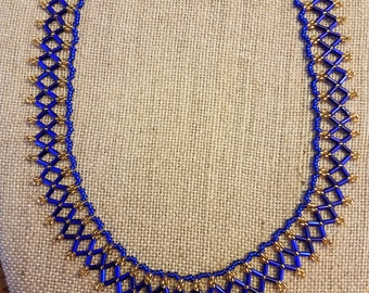 Royal Blue and Gold Beaded Necklace