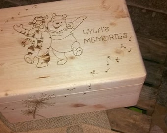 Tiger, pooh memory/keepsake Large Wooden Box , perfect gift , personalised, dandilions , dreams and wishes