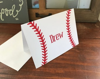 Personalized Baseball Notecards, Set of 10, Blank Inside