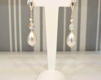 Earrings in silver S925 Pearl long