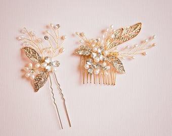 Bridal Headpiece, Gold hair comb, Gold leaf hair comb, Gold hair pin, Gold headpiece, Gold leaf hair pin, Gold hair accessories