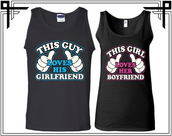 This Guy Loves His Girlfriend / Boyfriend Couple Tank Top Party Tanks Couple Tops Love Top Gift For Couples Anniversary and Valentines Gifts