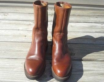 Vintage mens Peterman leather  boots shoes vibram soles size 8 1/2 E