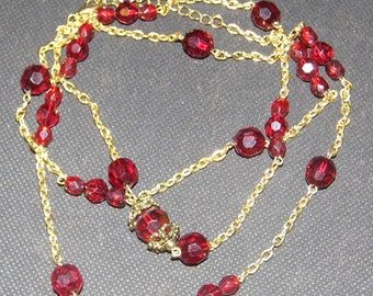 Dark Red & Gold EXTREMELY Long necklace VERY pretty!- Priority Shipping World Wide Shipping!