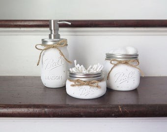 Mason Jar Bathroom Set of 3, Mason Jar Decor, Painted Mason Jars, Mason Jar Bathroom Set, Bathroom Set, Soap Dispenser,Rustic Decor