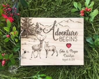 Adventure Begins Wedding Guestbook, Hunters Bridal Shower Guestbook