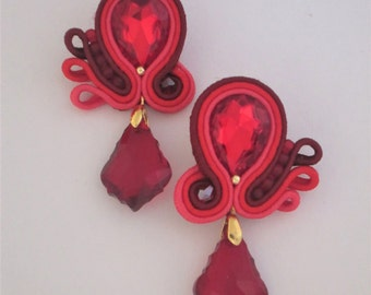 soutache earrings red drops