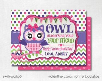 Owl Be Yours Valentine's Day Cards, Cute Owl Valentines for Girls, Owl Valentine Cards, Classroom Valentine Cards for Girls DI-VAL70