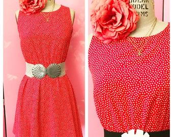 vintage play dress, mini dress, polka dot dress, 80's dress, red polka dot dress, fab 208 nyc, rayon dress, rayon polka dot dress