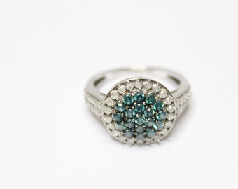 0.80ctw Blue Diamond and White Diamond Ring Size 7 925 Sterling Silver