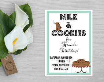 Milk and Cookies Party Invitation-Milk and Cookies Birthday Party Invite-Childrens Birthday Party Invitation-First Birthday Party Invite