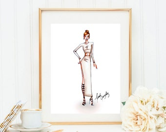 Fashion Illustration: Light gray outfit