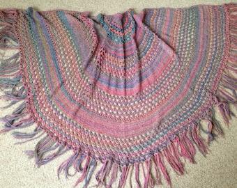 Vintage 1970's Hand Crochet Fringe Poncho Shawl Wrap - One Size