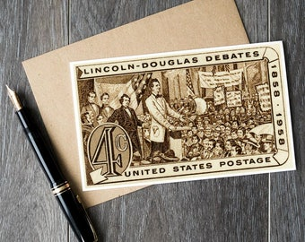 President Lincoln, Abraham Lincoln, Stephen Douglas, Lincoln Douglas Debates, US history, History cards, history posters, vintage gift cards