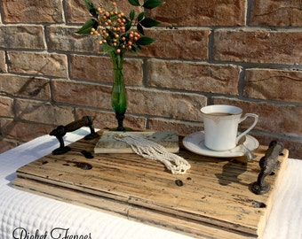 Reclaimed Wood Tray, Rustic Wood Tray, Wood Tray with Handles, Serving Tray, Decorative Tray