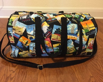 Travel Duffel Bag, Weekender Duffel, Quilted Duffel, Weekender Bag, Travel Duffle Bag, Weekender Duffle, Quilted Duffle, Black, Multicolored