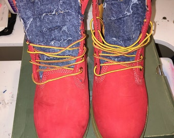 Custom Red Timbs size 10