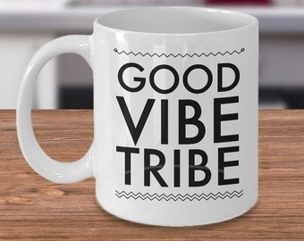 Hippie Gifts for Women & Men - Good Vibe Tribe Mug Ceramic Tea Cup Gift - New Age Gifts