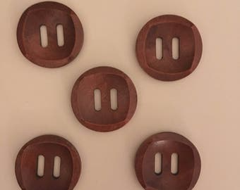 5 buttons 30mm wooden / wood buttons