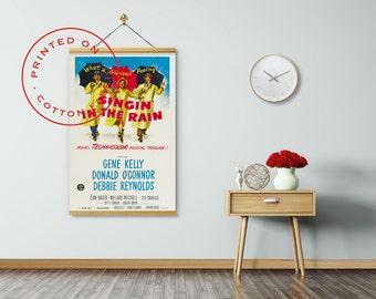 Singin' In The Rain Poster on Fabric, Gene Kelly, Donald O'Connor, Debbie Reynolds, Pull down Poster, Poster Hanger, Print on Canvas