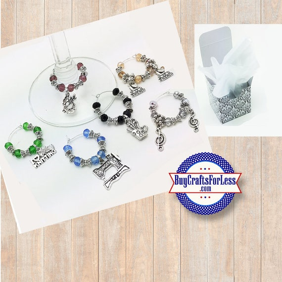 HOBBY Theme Wine or Bottle Charms, Faceted Glass and Silver, Set of 6! **FREE U.S. SHIPPING**