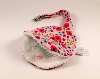 CLEARANCE-Soother holder - red flowers