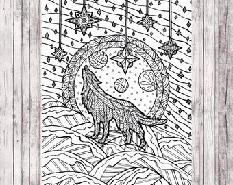coloring page for adults for download christmas wolf - Wolf Coloring Pages For Adults