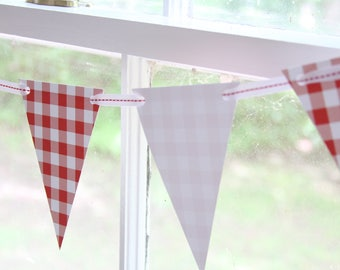 Baby Q Banner, BBQ 4th of July Cookout, Family Reunion Decorations, Red and White Bunting, Red Gingham Party Decorations, Supplies, Baby-que