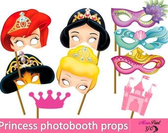 Princess Photobooth Props, Digital Printable, Princess Party Photobooth props