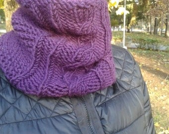 Purple Handmade Knit Cowl, Wool + Acrylic