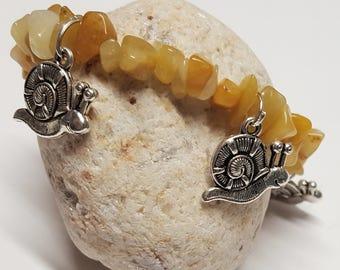 Silver Snail Charm Bracelets/Snail Charm Bracelet/Snail Bracelet with Yellow Jade/Yellow Jade Bracelet/ Jade Snail Braelet/Snail lover/Snail