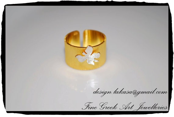 Butterfly Chevalier Ring Sterling Silver 925 Gold Plated Jewelry