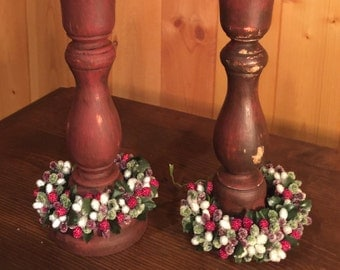 Distressed Candle Holders, 2pc, with Holiday Berries - Rustic Decor Candle Stick Holders