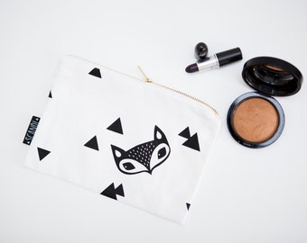 Fox and Triangle Cosmetic Pouch