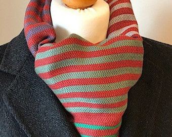 Mens wide winter scarf, soft red striped shawl, ladies patterned evening wrap