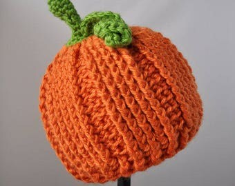 Crocheted Pumpkin Hat for Babies, Toddlers, and Children