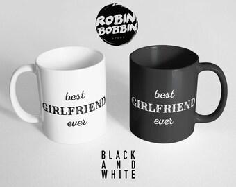 Best Girlfriend Ever - Girlfriend Gift for Her,Anniversary Gift for Girlfriend Mug-Anniversary Gift for Women Gift Black and White Mug