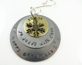 Hand stamped daddy christmas ornament----Sample - will custom make -