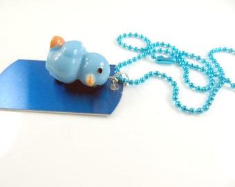 Little girls blue duckie necklace - personalize it with her name