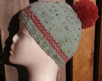 Handknit Alpaca Tweed Pompom Hat