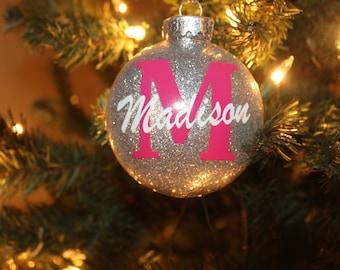 Personalized Ornament | Monogram Ornament | Glitter Ornament | Christmas Ornament | Personalized Gift | Tree Decor