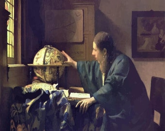 Johannes Vermeer : The Astronomer (1668) Canvas Gallery Wrapped Wall Art Print