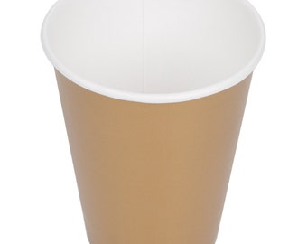 25 Gold Poly Paper Cups 9oz Hot/Cold, Party Supplies, Wedding Supplies, Party, Wedding, Paper Cups, Gold, Beverage Cups, Cups, Supplies